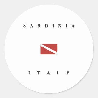 Drapeau de piqué de scaphandre de la Sardaigne Sticker Rond