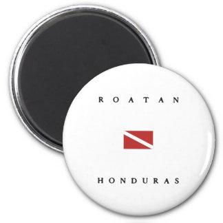 Drapeau de piqué de scaphandre de Roatan Honduras Magnet Rond 8 Cm