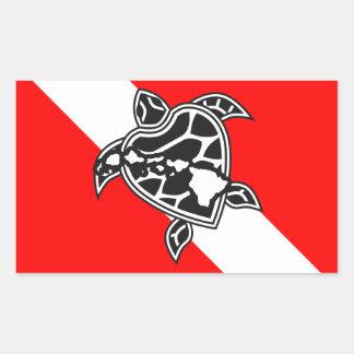 Drapeau de piqué de tortue d'Hawaï Sticker Rectangulaire