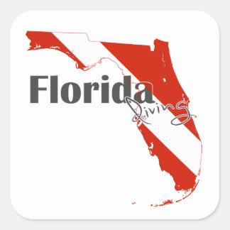 Drapeau de plongée à l'air de la Floride Sticker Carré