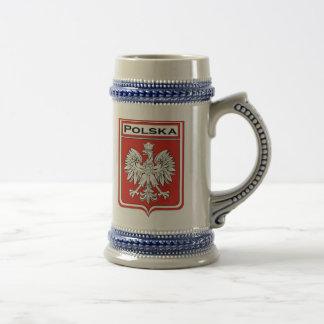 Drapeau de Polska/bouclier polonais Stein Chope À Bière