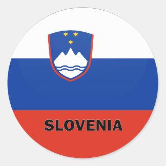 Drapeau de qualité de rondeau de la Slovénie Sticker Rond
