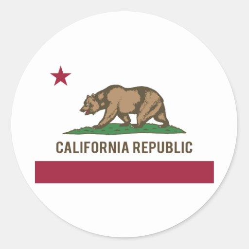 Drapeau de République de la Californie - couleur Adhésif Rond