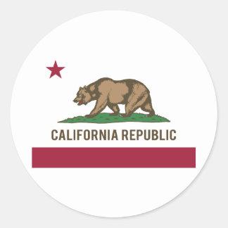 Drapeau de République de la Californie - couleur Sticker Rond