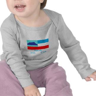 Drapeau de Sabah avec le nom T-shirt
