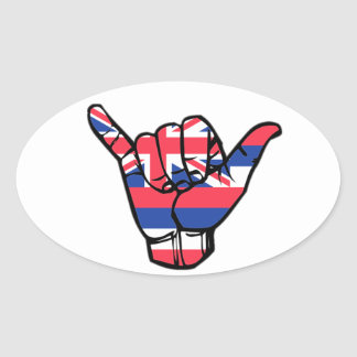 Drapeau de Shaka Hawaï Sticker Ovale