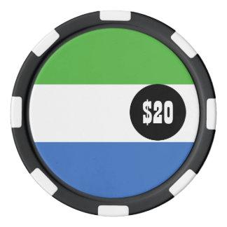 Drapeau de Sierra Leone Rouleau De Jetons De Poker