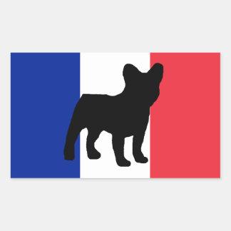 drapeau de silhouette de bouledogue français sticker rectangulaire