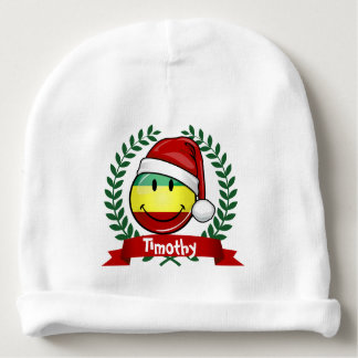 Drapeau de sourire de Rastafarian de style de Noël Bonnet De Bébé