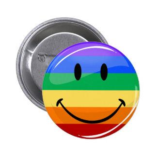 Drapeau de sourire rond brillant de gay pride pin's