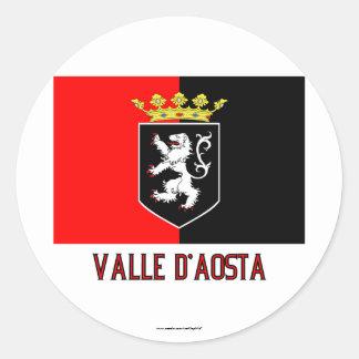 Drapeau de Val d'Aoste avec le nom Sticker Rond