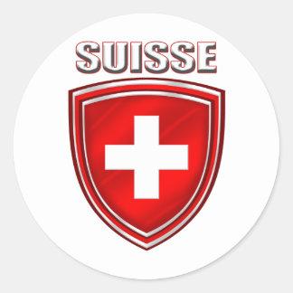 Drapeau d'emblème de bouclier de logo de Suisse de Autocollant Rond