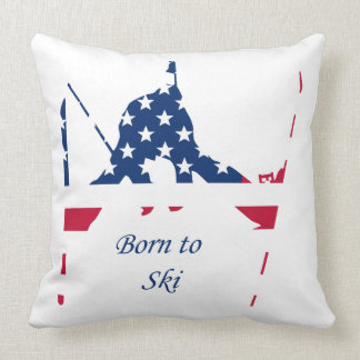 Drapeau des Etats-Unis d'Américain de ski de Coussin