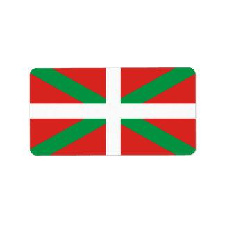 Drapeau des étiquettes Basques de pays Étiquette D'adresse