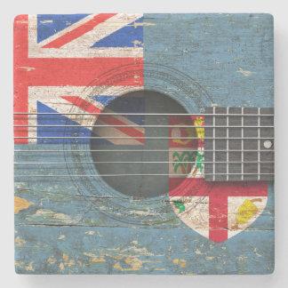 Drapeau des Fidji sur la vieille guitare Sous-bock En Pierre
