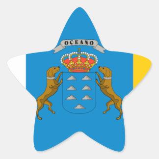 Drapeau des Îles Canaries (Espagne) Sticker Étoile