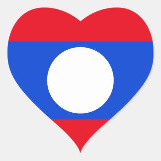Drapeau des Laotiens Sticker Cœur
