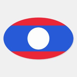 Drapeau des Laotiens Sticker Ovale