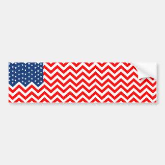 Drapeau des USA dans des vagues de Chevron Autocollant De Voiture