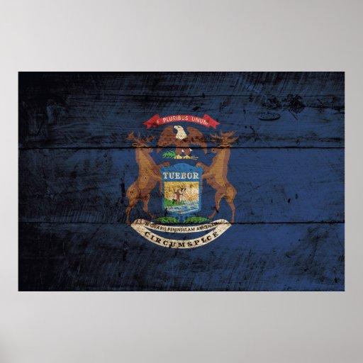 Drapeau d'État du Michigan sur le vieux grain en Posters