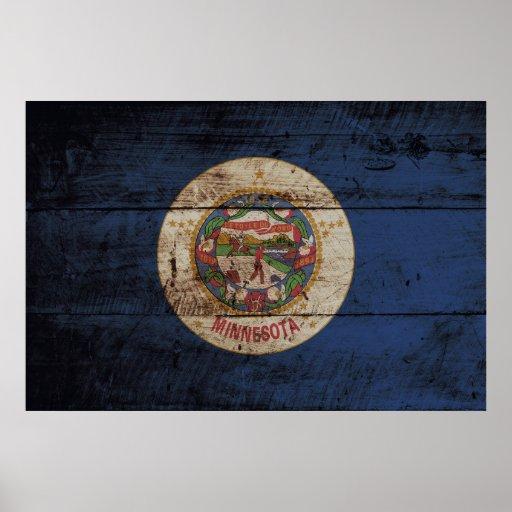 Drapeau d'état du Minnesota sur le vieux grain en Affiches