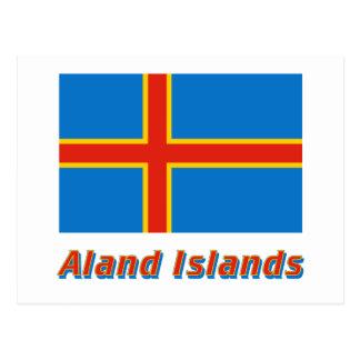 Drapeau d'îles d'Aland avec le nom Carte Postale