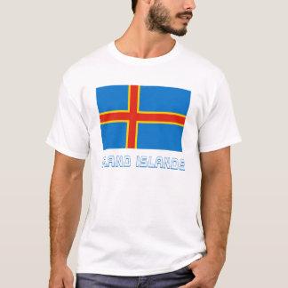 Drapeau d'îles d'Aland avec le nom T-shirt