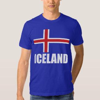 Drapeau du bleu blanc des textes de l'Islande T-shirts