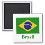 Drapeau du Brésil avec le nom dans le Portugais Aimant