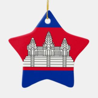 Drapeau du Cambodge Ornement Étoile En Céramique