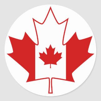 Drapeau du Canada dans la feuille d'érable - blanc Adhésifs Ronds