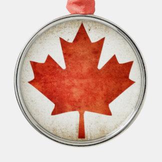Drapeau du Canada (feuille d'érable) Ornement Rond Argenté