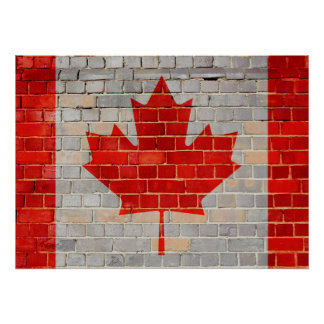 Drapeau du Canada sur un mur de briques Poster
