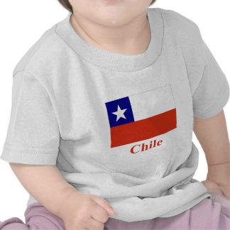 Drapeau du Chili avec le nom T-shirts
