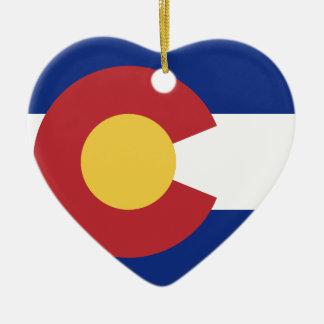 Drapeau du Colorado Ornement Cœur En Céramique