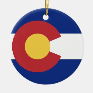 Drapeau du Colorado Ornement Rond En Céramique