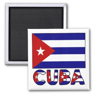 Drapeau du Cuba et obscurité de mot Magnet Carré