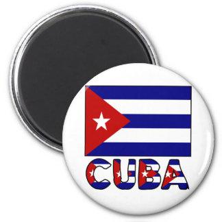 Drapeau du Cuba et obscurité de mot Magnet Rond 8 Cm