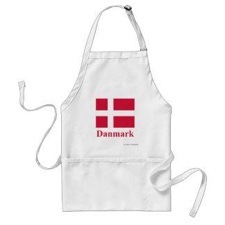 Drapeau du Danemark avec le nom dans le danois Tablier