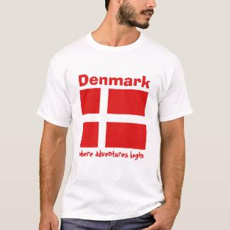 Drapeau du Danemark + Carte + T-shirt des textes