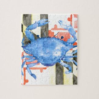 Drapeau du Maryland d'aquarelle et crabe bleu Puzzle