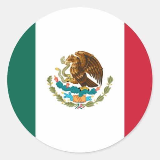 Drapeau du Mexique Adhésif Rond
