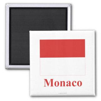 Drapeau du Monaco avec le nom Aimants Pour Réfrigérateur