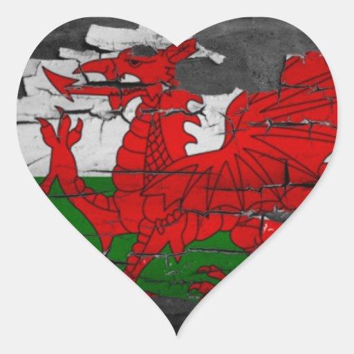Drapeau du Pays de Galles affligé Autocollant En Cœur
