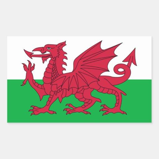 Drapeau du Pays de Galles Stickers En Rectangle