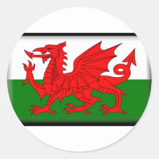 Drapeau du Pays de Galles Adhésif Rond