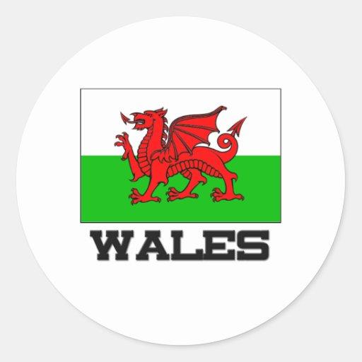 Drapeau du Pays de Galles Autocollants Ronds