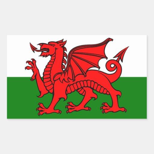 Drapeau du Pays de Galles Autocollants En Rectangle