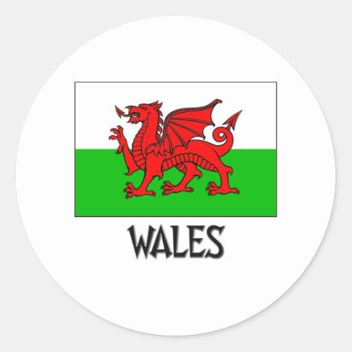 Drapeau du Pays de Galles Autocollant Rond