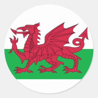 Drapeau du Pays de Galles Sticker Rond